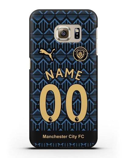 Именной чехол ФК Манчестер Сити с фамилией и номером (сезон 2020-2021) гостевая форма силикон черный для Samsung Galaxy S6 Edge Plus [SM-928F]