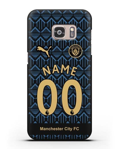 Именной чехол ФК Манчестер Сити с фамилией и номером (сезон 2020-2021) гостевая форма силикон черный для Samsung Galaxy S7 Edge [SM-G935F]