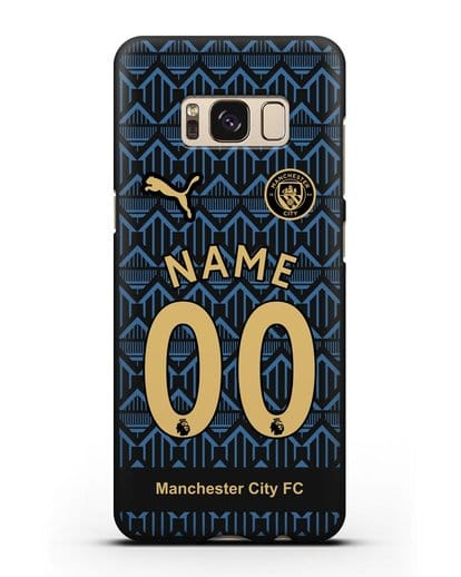 Именной чехол ФК Манчестер Сити с фамилией и номером (сезон 2020-2021) гостевая форма силикон черный для Samsung Galaxy S8 Plus [SM-G955F]