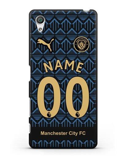 Именной чехол ФК Манчестер Сити с фамилией и номером (сезон 2020-2021) гостевая форма силикон черный для Sony Xperia X