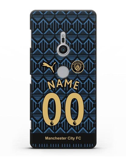 Именной чехол ФК Манчестер Сити с фамилией и номером (сезон 2020-2021) гостевая форма силикон черный для Sony Xperia XZ2