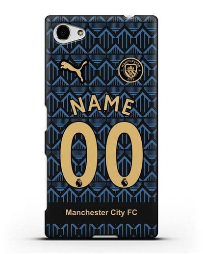 Именной чехол ФК Манчестер Сити с фамилией и номером (сезон 2020-2021) гостевая форма силикон черный для Sony Xperia Z5 Compact