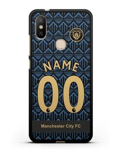 Именной чехол ФК Манчестер Сити с фамилией и номером (сезон 2020-2021) гостевая форма силикон черный для Xiaomi Mi 6X