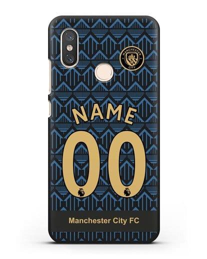 Именной чехол ФК Манчестер Сити с фамилией и номером (сезон 2020-2021) гостевая форма силикон черный для Xiaomi Mi 8