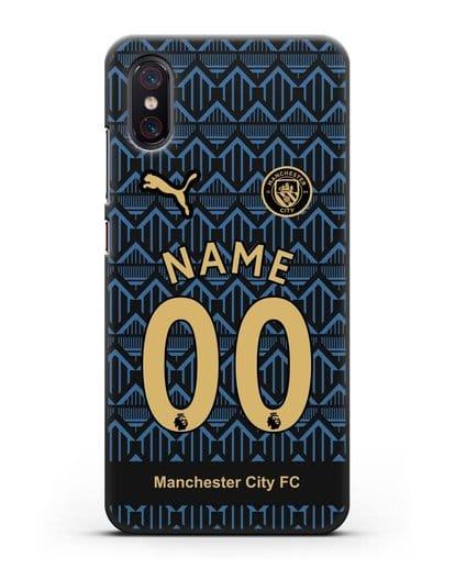 Именной чехол ФК Манчестер Сити с фамилией и номером (сезон 2020-2021) гостевая форма силикон черный для Xiaomi Mi 8 Pro