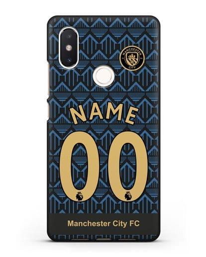Именной чехол ФК Манчестер Сити с фамилией и номером (сезон 2020-2021) гостевая форма силикон черный для Xiaomi Mi 8 SE
