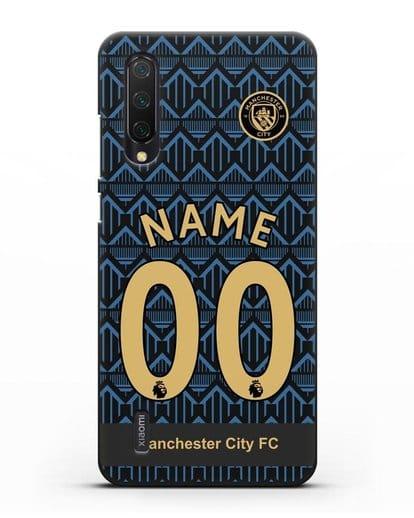Именной чехол ФК Манчестер Сити с фамилией и номером (сезон 2020-2021) гостевая форма силикон черный для Xiaomi Mi 9 Lite