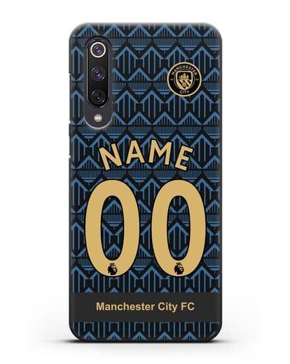 Именной чехол ФК Манчестер Сити с фамилией и номером (сезон 2020-2021) гостевая форма силикон черный для Xiaomi Mi 9 SE