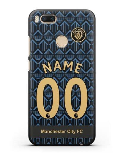 Именной чехол ФК Манчестер Сити с фамилией и номером (сезон 2020-2021) гостевая форма силикон черный для Xiaomi Mi A1
