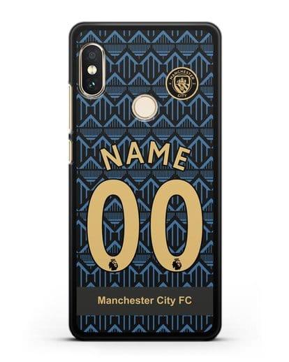 Именной чехол ФК Манчестер Сити с фамилией и номером (сезон 2020-2021) гостевая форма силикон черный для Xiaomi Mi A2 Lite