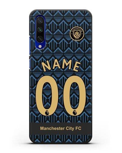 Именной чехол ФК Манчестер Сити с фамилией и номером (сезон 2020-2021) гостевая форма силикон черный для Xiaomi Mi A3
