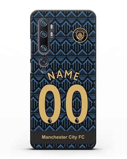 Именной чехол ФК Манчестер Сити с фамилией и номером (сезон 2020-2021) гостевая форма силикон черный для Xiaomi Mi CC9 Pro
