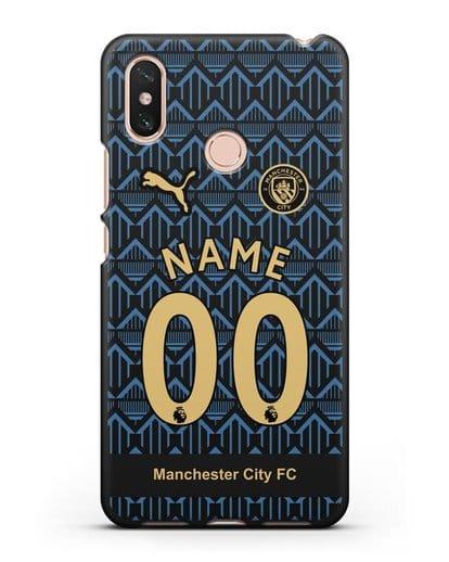 Именной чехол ФК Манчестер Сити с фамилией и номером (сезон 2020-2021) гостевая форма силикон черный для Xiaomi Mi Max 3