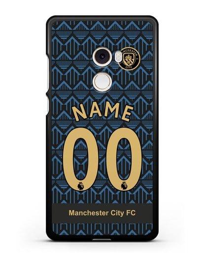 Именной чехол ФК Манчестер Сити с фамилией и номером (сезон 2020-2021) гостевая форма силикон черный для Xiaomi Mi Mix 2