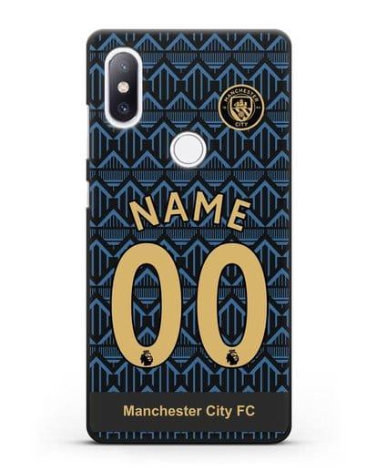 Именной чехол ФК Манчестер Сити с фамилией и номером (сезон 2020-2021) гостевая форма силикон черный для Xiaomi Mi Mix 2S