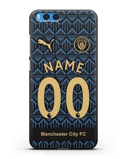 Именной чехол ФК Манчестер Сити с фамилией и номером (сезон 2020-2021) гостевая форма силикон черный для Xiaomi Mi Note 3