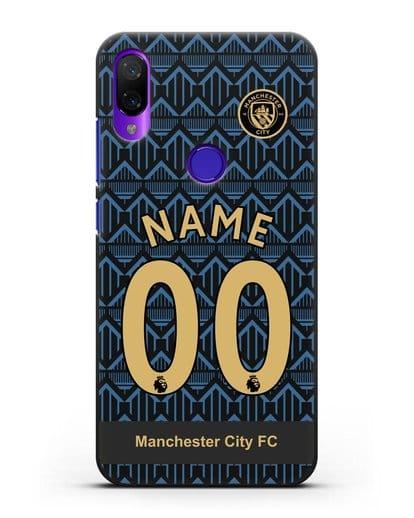 Именной чехол ФК Манчестер Сити с фамилией и номером (сезон 2020-2021) гостевая форма силикон черный для Xiaomi Mi Play