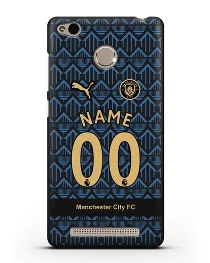 Именной чехол ФК Манчестер Сити с фамилией и номером (сезон 2020-2021) гостевая форма силикон черный для Xiaomi Redmi 3 Pro