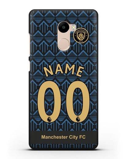 Именной чехол ФК Манчестер Сити с фамилией и номером (сезон 2020-2021) гостевая форма силикон черный для Xiaomi Redmi 4