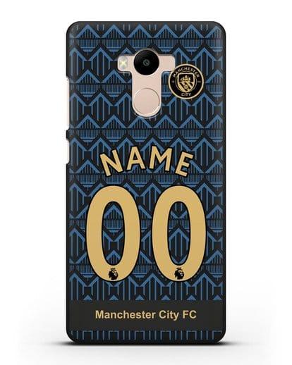 Именной чехол ФК Манчестер Сити с фамилией и номером (сезон 2020-2021) гостевая форма силикон черный для Xiaomi Redmi 4 Pro