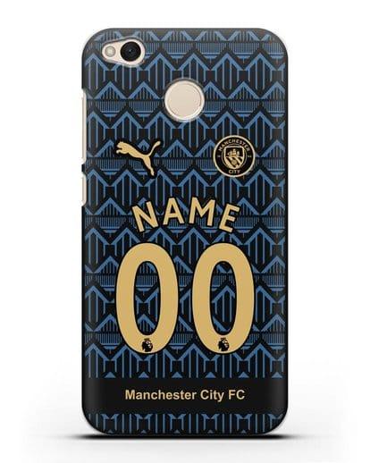Именной чехол ФК Манчестер Сити с фамилией и номером (сезон 2020-2021) гостевая форма силикон черный для Xiaomi Redmi 4X