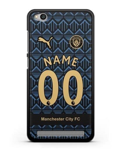 Именной чехол ФК Манчестер Сити с фамилией и номером (сезон 2020-2021) гостевая форма силикон черный для Xiaomi Redmi 5A