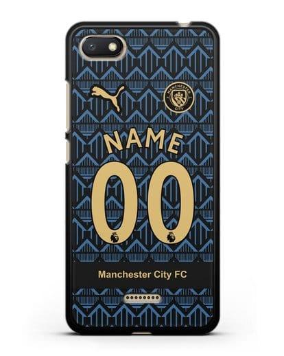 Именной чехол ФК Манчестер Сити с фамилией и номером (сезон 2020-2021) гостевая форма силикон черный для Xiaomi Redmi 6A