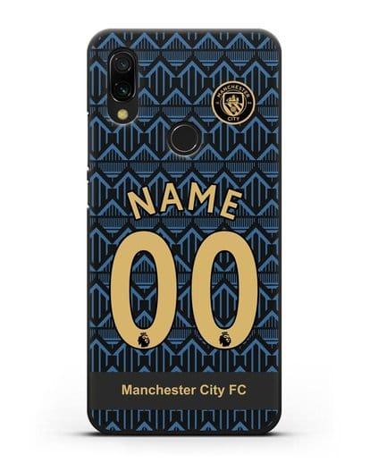 Именной чехол ФК Манчестер Сити с фамилией и номером (сезон 2020-2021) гостевая форма силикон черный для Xiaomi Redmi 7