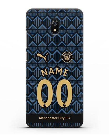 Именной чехол ФК Манчестер Сити с фамилией и номером (сезон 2020-2021) гостевая форма силикон черный для Xiaomi Redmi 8A