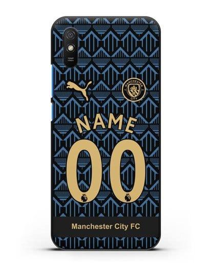 Именной чехол ФК Манчестер Сити с фамилией и номером (сезон 2020-2021) гостевая форма силикон черный для Xiaomi Redmi 9A
