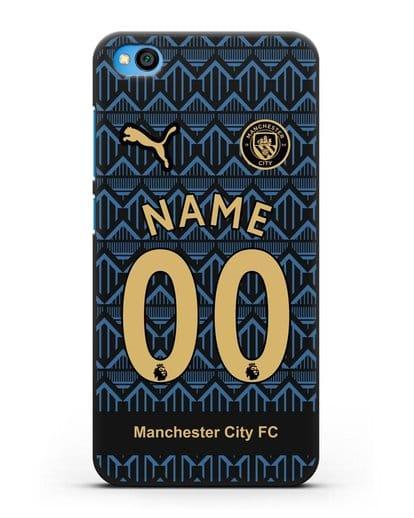 Именной чехол ФК Манчестер Сити с фамилией и номером (сезон 2020-2021) гостевая форма силикон черный для Xiaomi Redmi Go