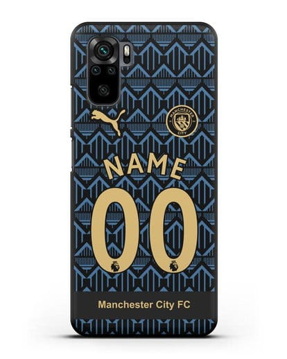 Именной чехол ФК Манчестер Сити с фамилией и номером (сезон 2020-2021) гостевая форма силикон черный для Xiaomi Redmi Note 10