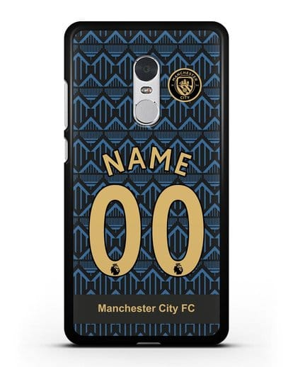 Именной чехол ФК Манчестер Сити с фамилией и номером (сезон 2020-2021) гостевая форма силикон черный для Xiaomi Redmi Note 4