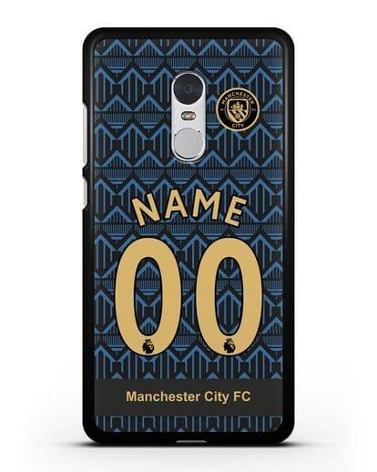 Именной чехол ФК Манчестер Сити с фамилией и номером (сезон 2020-2021) гостевая форма силикон черный для Xiaomi Redmi Note 4X