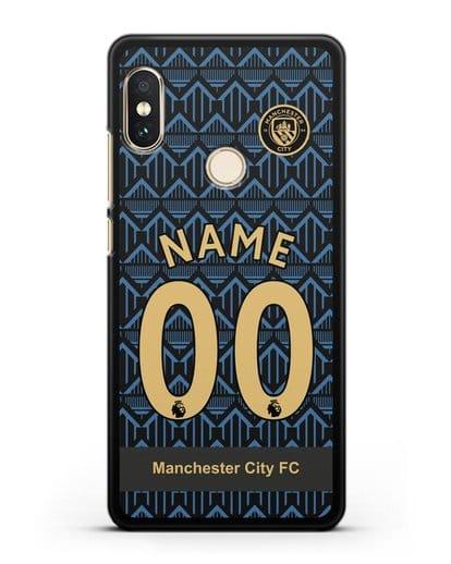 Именной чехол ФК Манчестер Сити с фамилией и номером (сезон 2020-2021) гостевая форма силикон черный для Xiaomi Redmi Note 5