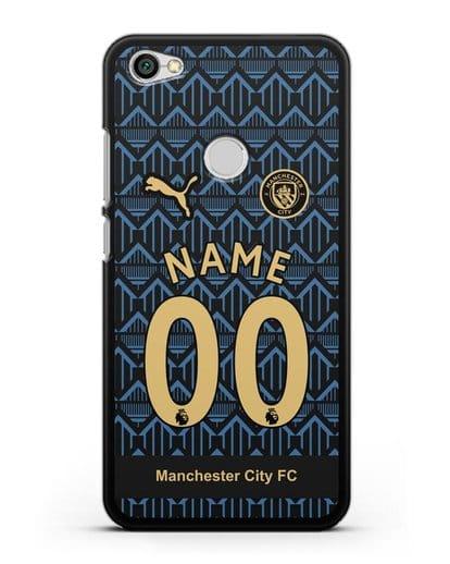 Именной чехол ФК Манчестер Сити с фамилией и номером (сезон 2020-2021) гостевая форма силикон черный для Xiaomi Redmi Note 5A Prime
