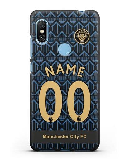 Именной чехол ФК Манчестер Сити с фамилией и номером (сезон 2020-2021) гостевая форма силикон черный для Xiaomi Redmi Note 6 Pro