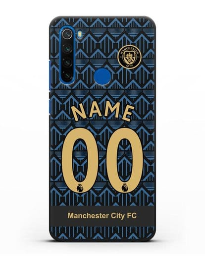 Именной чехол ФК Манчестер Сити с фамилией и номером (сезон 2020-2021) гостевая форма силикон черный для Xiaomi Redmi Note 8T