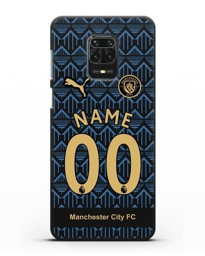 Именной чехол ФК Манчестер Сити с фамилией и номером (сезон 2020-2021) гостевая форма силикон черный для Xiaomi Redmi Note 9 Pro