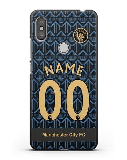Именной чехол ФК Манчестер Сити с фамилией и номером (сезон 2020-2021) гостевая форма силикон черный для Xiaomi Redmi S2