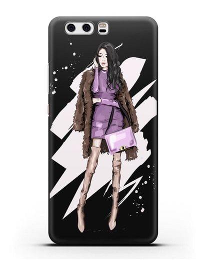 Чехол Девушка брюнетка в шубе силикон черный для Huawei P10 Plus