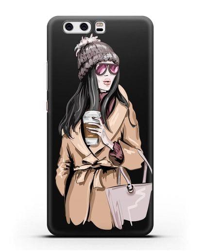 Чехол Девушка брюнетка в пальто и кофе в руках силикон черный для Huawei P10 Plus