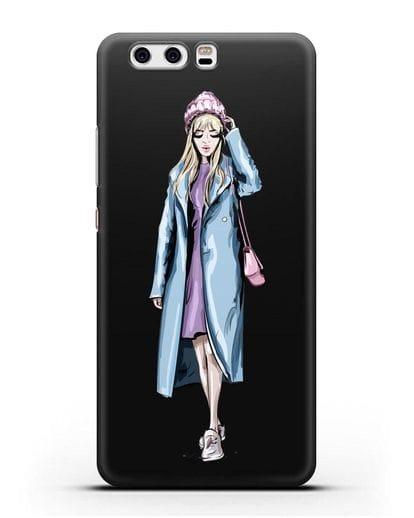 Чехол Девушка блондинка в голубом пальто силикон черный для Huawei P10 Plus