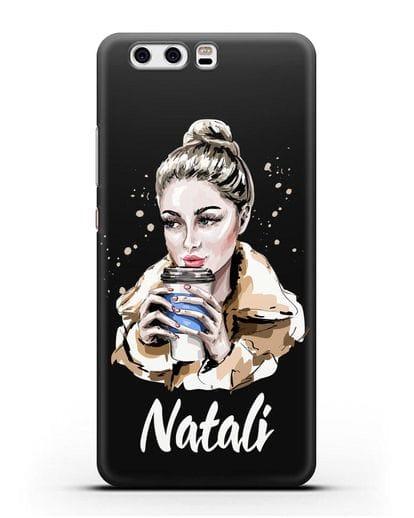 Именной чехол Девушка блондинка с кофе в руках силикон черный для Huawei P10 Plus
