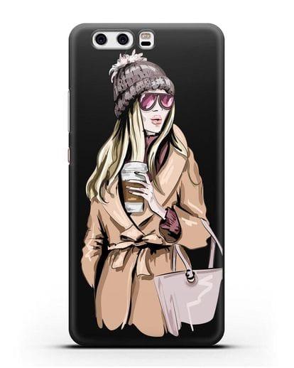 Чехол Девушка блондинка в пальто и кофе в руках силикон черный для Huawei P10 Plus