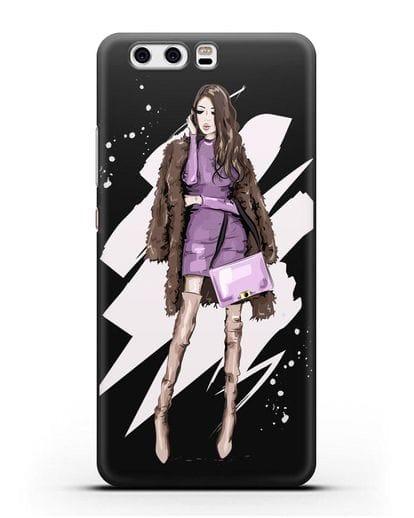 Чехол Девушка шатенка в шубе силикон черный для Huawei P10 Plus