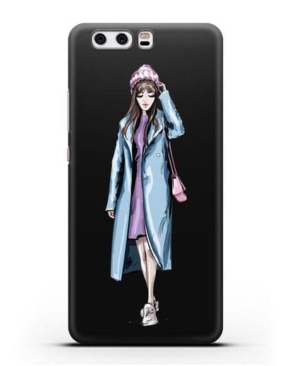 Чехол Девушка шатенка в голубом пальто силикон черный для Huawei P10 Plus