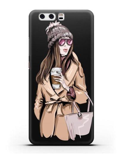 Чехол Девушка в пальто и кофе в руках силикон черный для Huawei P10 Plus