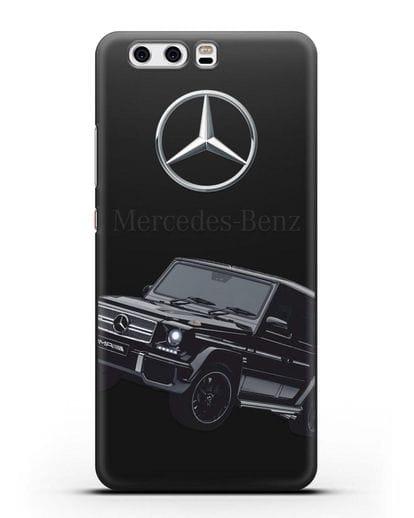 Чехол с картинкой Мерседес Гелендваген силикон черный для Huawei P10