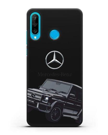 Чехол с картинкой Мерседес Гелендваген силикон черный для Huawei P30 Lite